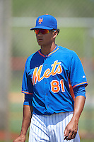 GCL Mets pitcher Matt Cleveland (81) after a game against the GCL Marlins on August 12, 2016 at St. Lucie Sports Complex in St. Lucie, Florida.  GCL Marlins defeated GCL Mets 8-1.  (Mike Janes/Four Seam Images)