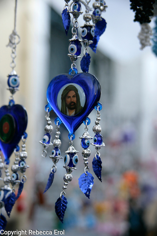 Islamic amulet of the Prophet Ali for sale in a market, Turkey
