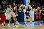 Real Madrid´s Kelvin Rivers and Anadolu Efes´s Cedi Osman during 2014-15 Euroleague Basketball Playoffs match between Real Madrid and Anadolu Efes at Palacio de los Deportes stadium in Madrid, Spain. April 15, 2015. (ALTERPHOTOS/Luis Fernandez)