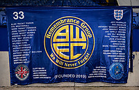 THE BWFC Remembrance Flag displayed at the University of Bolton stadium  <br /> <br /> Photographer Andrew Kearns/CameraSport<br /> <br /> The EFL Sky Bet League Two - Bolton Wanderers v Salford City - Friday 13th November 2020 - University of Bolton Stadium - Bolton<br /> <br /> World Copyright © 2020 CameraSport. All rights reserved. 43 Linden Ave. Countesthorpe. Leicester. England. LE8 5PG - Tel: +44 (0) 116 277 4147 - admin@camerasport.com - www.camerasport.com