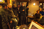 The Mayor of Troutbeck Hunt Day 2018. Bob Cannan singing traditional fox hunting songs in the Queens Head Troutbeck Cumbria after a days hunting.