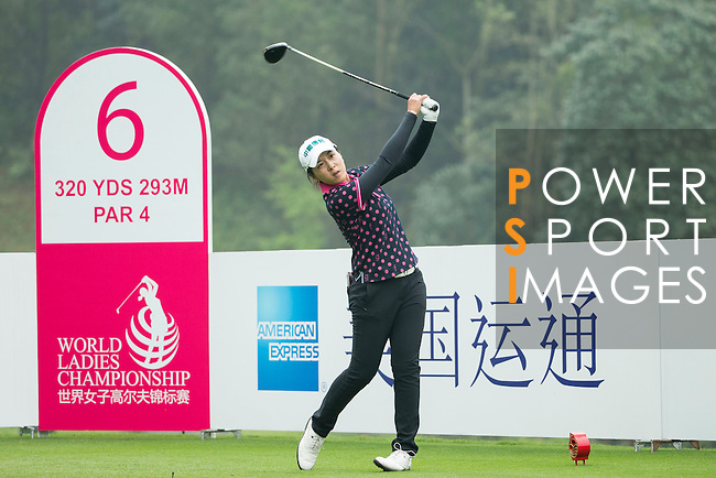 Lin Tzu-Chi of Chinese Taipei tees off at the 6th hole during Round 4 of the World Ladies Championship 2016 on 13 March 2016 at Mission Hills Olazabal Golf Course in Dongguan, China. Photo by Victor Fraile / Power Sport Images