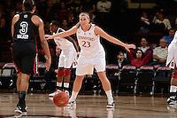 STANFORD, CA - NOVEMBER 26: Jeanette Pohlen of Stanford women's basketball on defense in a game against South Carolina on November 26, 2010 at Maples Pavilion in Stanford, California.  Stanford topped South Carolina, 70-32.