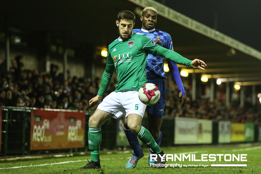 Aaron Barry of Cork with Ismahil Akinade of Waterford during the SSE Airtricity League Premier Division game between Cork City and Waterford FC on Friday 23rd February 2018 at Turners Cross. Photo By: Michael P Ryan