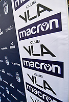 illustration picture showing the super league banner with Club YLA and Macron on it during a female soccer game between Club Brugge Dames YLA and Zulte Waregem Ladies on the third matchday of the 2020 - 2021 season of Belgian Scooore Womens Super League , saturday 3 October 2020  in Brugge , Belgium . PHOTO SPORTPIX.BE | SPP | DAVID CATRY