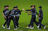 The Black Caps celebrate a wicket during the second International T20 cricket match between the New Zealand Black Caps and Bangladesh at McLean Park in Napier, New Zealand on Tuesday, 30 March 2021. Photo: Dave Lintott / lintottphoto.co.nz