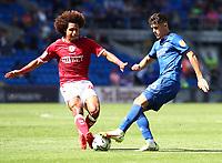 28th August 2021; Cardiff City Stadium, Cardiff, Wales;  EFL Championship football, Cardiff versus Bristol City; Han-Noah Massengo of Bristol City tackles Ryan Giles of Cardiff City