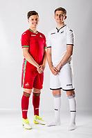 Keston Davies (R) and Jack Evans<br />Swansea City FC kit photo shoot at the Liberty Stadium, Wales, UK. Wednesday 03 May 2017