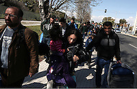 Pictured: Refugees arriving at the Helliniko camp Friday 26 February 2016<br /> Re: Refugees have been turning up at the Helliniko refugee camp in the outskirts of Athens, Greece.