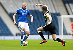 St Mirren v St Johnstone…09.05.21  Scottish Cup Semi-Final Hampden Park <br />Shaun Rooney is tackled by Joe Shaughnessy<br />Picture by Graeme Hart.<br />Copyright Perthshire Picture Agency<br />Tel: 01738 623350  Mobile: 07990 594431