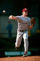 Chad Hutchinson of the Stanford Cardinal participates in a baseball game at Jackie Robinson Stadium during the 1998 season in Los Angeles, California. (Larry Goren/Four Seam Images)