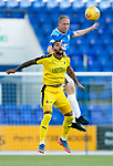 St Johnstone v Falkirk…24.07.18…  McDiarmid Park    Betfred Cup<br />Steven Anderson gets above Dennon Lewis<br />Picture by Graeme Hart. <br />Copyright Perthshire Picture Agency<br />Tel: 01738 623350  Mobile: 07990 594431