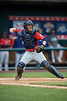 New Hampshire Fisher Cats catcher Ryan Hissey (20) throws to second base during the first game of a doubleheader against the Harrisburg Senators on May 13, 2018 at FNB Field in Harrisburg, Pennsylvania.  New Hampshire defeated Harrisburg 6-1.  (Mike Janes/Four Seam Images)