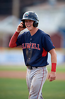 Lowell Spinners shortstop Grant Williams (11) after reaching first base on a walk during a game against the Batavia Muckdogs on July 15, 2018 at Dwyer Stadium in Batavia, New York.  Lowell defeated Batavia 6-2.  (Mike Janes/Four Seam Images)