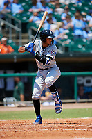 Biloxi Shuckers designated hitter Jake Gatewood (3) at bat during a game against the Montgomery Biscuits on May 8, 2018 at Montgomery Riverwalk Stadium in Montgomery, Alabama.  Montgomery defeated Biloxi 10-5.  (Mike Janes/Four Seam Images)