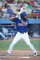 Amed Rosario (1) of the Las Vegas 51s bats against the Sacramento River Cats at Cashman Field on June 15, 2017 in Las Vegas, Nevada. Las Vegas defeated Sacramento, 12-4. (Larry Goren/Four Seam Images)