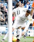 Real Madrid's Garet Bale (l) and Danilo Luiz da Silva celebrate goal during La Liga match. December 20,2015. (ALTERPHOTOS/Acero)