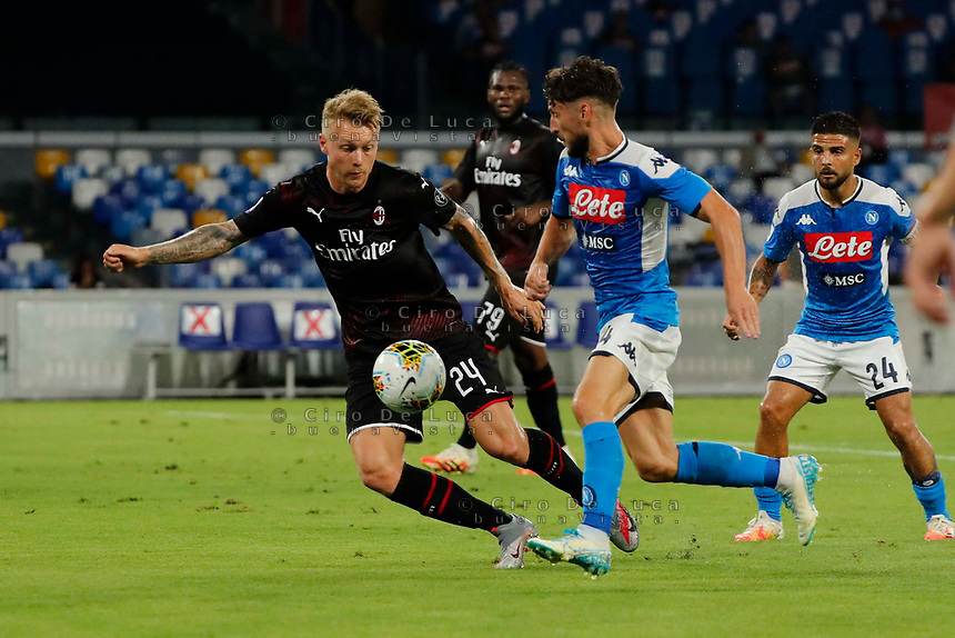 Dries Mertens of Napoli Simon Kjaer of Milan  during the  italian serie a soccer match,  SSC Napoli - AC Milan       at  the San  Paolo   stadium in Naples  Italy , July 12, 2020
