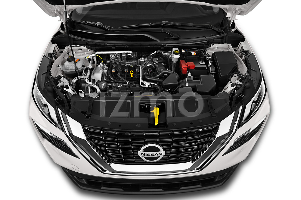 Car Stock 2021 Nissan Rogue S 5 Door SUV Engine  high angle detail view