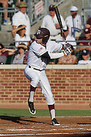 Texas A&M Aggie outfielder Tyler Naquin #18 first inning at bat during the NCAA Tournament Regional baseball game against the Dayton Flyers on June 1, 2012 at Blue Bell Park in College Station, Texas. The Aggies defeated the Flyers 4-1. (Andrew Woolley/Four Seam Images).