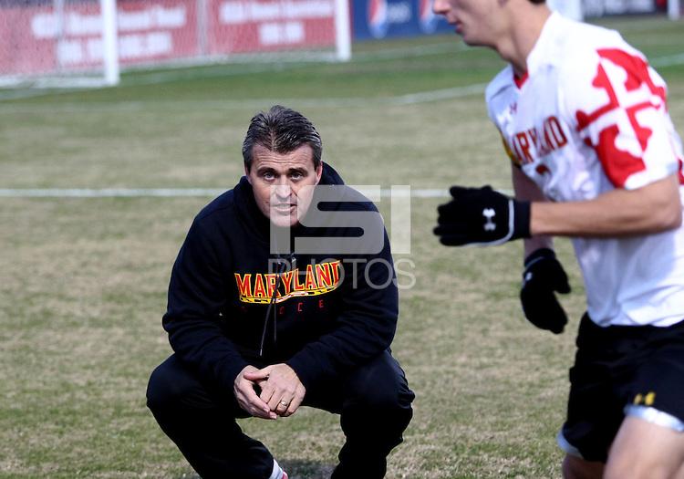 COLLEGE PARK, MD - NOVEMBER 25, 2012: Sasho Cirovski coach of the University of Maryland against Coastal Carolina University during an NCAA championship third round match at Ludwig Field, in College Park, MD, on November 25. Maryland won 5-1.