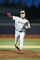 Florida State Seminoles starting pitcher Cole Sands (26) in action against the Wake Forest Demon Deacons at David F. Couch Ballpark on March 9, 2018 in  Winston-Salem, North Carolina.  The Seminoles defeated the Demon Deacons 7-3.  (Brian Westerholt/Four Seam Images)