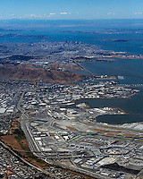 high overview aerial photograph of San Francisco International airport SFO to San Francisco