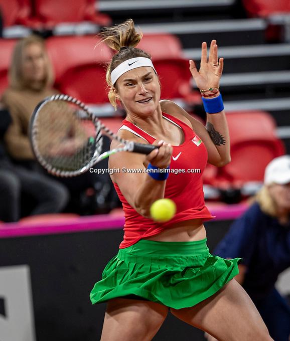 The Hague, The Netherlands, Februari 8, 2020,    Sportcampus, FedCup  Netherlands -  Balarus, First match on Saturday:   Aryna Sabalenka (BLR)<br /> Photo: Tennisimages/Henk Koster