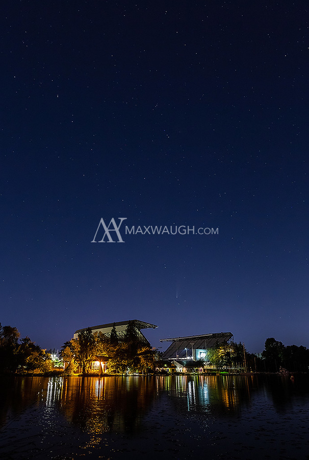 Comet NEOWISE and the Big Dipper shine above Husky Stadium in Seattle.