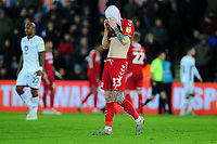 Hayden Coulson of Middlesbrough looks dejected during the Sky Bet Championship match between Swansea City and Middlesbrough at the Liberty Stadium in Swansea, Wales, UK. Saturday 14 December 2019