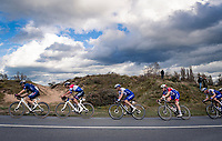 race leaders racing through the dunes<br /> <br /> 44th AG Driedaagse Brugge-De Panne 2020 (1.UWT / BEL)<br /> 1 day race from Brugge to De Panne (203km shortened to 188km due to the windy weather conditions) <br /> <br /> ©kramon