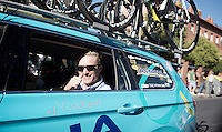 """Nr1: Vinokurov"" <br /> Controversial Astana team manager Alexander Vinokurov does a thumbs up for his (team's) Grand Tour win from the teamcar during the last stage<br /> <br /> stage 21: Alcala de Henares - Madrid (98km)<br /> 2015 Vuelta à Espana"
