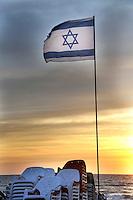 Flag of Israel at sunset flag of Israel