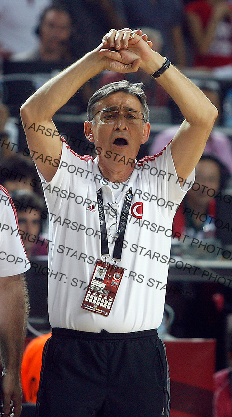 Bogdan TANJEVIC (Turkey) head coach, reacts during the semi-final World championship basketball match against Serbia in Istanbul, Serbia-Turkey, Turkey on Saturday, Sep. 11, 2010. (Novak Djurovic/Starsportphoto.com) .