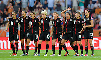 Players of team USA react at the penalty shootout during the FIFA Women's World Cup at the FIFA Stadium in Dresden, Germany on July 10th, 2011.