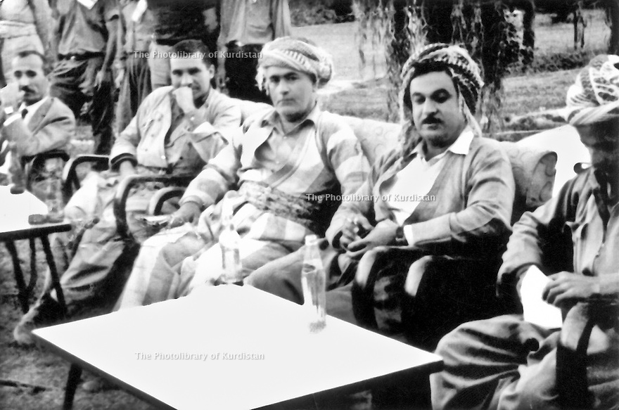Iraq 1971 .In Salaheddin, from left to right, Mohammed Hassan, Habib Kerim,Assad Fatah, Mohsen Dizai and Masoud Barzani irak 1971 A Salaheddin, de gauche a droite, Mohammed Hassan, Habib Kerim, Assad Fatah, Mohsen Dizai et Masoud Barzani