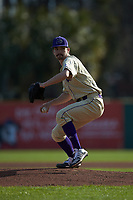 Western Carolina Catamounts starting pitcher Ryan Mitschele (3) in action against the Saint Joseph's Hawks at TicketReturn.com Field at Pelicans Ballpark on February 23, 2020 in Myrtle Beach, South Carolina. The Hawks defeated the Catamounts 9-2. (Brian Westerholt/Four Seam Images)