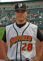 August 6, 2003:  Jeremy Guthrie of the Buffalo Bisons, Class-AAA affiliate of the Cleveland Indians, during a International League game at Frontier Field in Rochester, NY.  Photo by:  Mike Janes/Four Seam Images