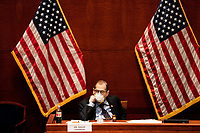 """United States Representative Jerrold Nadler (Democrat of New York), Chairman, US House Judiciary Committee listens during a US House Judiciary committee hearing on """"Oversight of the Department of Justice: Political Interference and Threats to Prosecutorial Independence"""" on Capitol Hill in Washington DC on June 24th, 2020.<br /> Credit: Anna Moneymaker / Pool via CNP/AdMedia"""