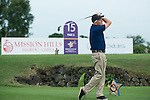 Michael Douglas tees off the 15th hole during the World Celebrity Pro-Am 2016 Mission Hills China Golf Tournament on 21 October 2016, in Haikou, China. Photo by Marcio Machado / Power Sport Images