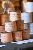 Truffle preparations in tins cans conserves: onion marmalade with truffles Truffiere de la Bergerie (Truffière) truffles farm Ste Foy de Longas Dordogne France