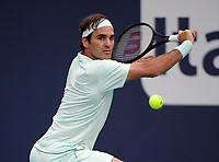 MIAMI GARDENS, FLORIDA - MARCH 23:  Roger Federer on Day 6 of the Miami Open Presented by Itau at Hard Rock Stadium on March 23, 2019 in Miami Gardens, Florida<br /> <br /> People: Roger Federer