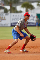 Clearwater Threshers 3rd baseman Mitchell Walding (10) in the field before a game against the Daytona Tortugas at Radiology Associates Field at Jackie Robinson Ballpark on May 9, 2015 in Daytona, Florida. Clearwater defeated Daytona 7-0. (Robert Gurganus/Four Seam Images)