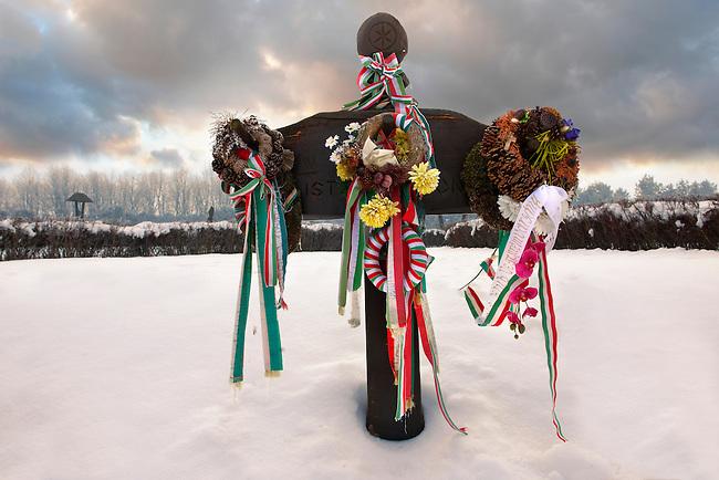 Battle of Mohacs 1526 memorial park in the snow - Mohácsi Történelmi Emlékhely ,  Hungary - Stock photos