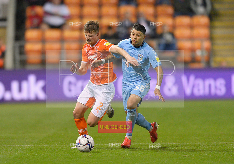 17/08/2021 Sky Bet Championship Blackpool v Coventry  <br /> <br /> Callum Connolly duels with Gustavo Hamer
