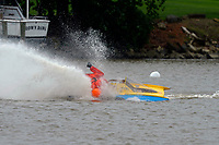 Frame 19: 300-P comes together with 911-Q, turns away and then is ejected from the boat.   (Outboard Hydroplanes)