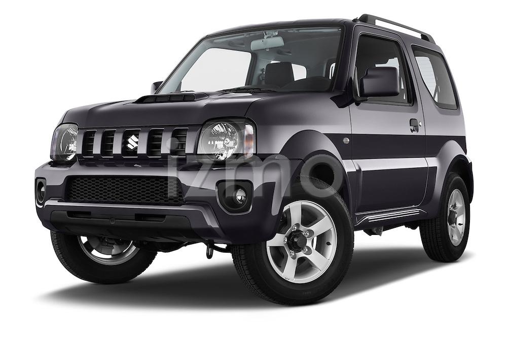 Stock pictures of low aggressive front three quarter view of a 2014 Suzuki JIMNY JLX X-Citement 3 Door SUV 4WD Low Aggressive