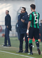 Calcio, Serie A: Sassuolo vs Juventus. Reggio Emilia, Mapei Stadium, 29 gennaio 2017. <br /> Sassuolo's Eusebio Di Francesco, left, gestures past his player Luca Antei during the Italian Serie A football match between Sassuolo and Juventus at Reggio Emilia's Mapei stadium, 29 January 2017.<br /> UPDATE IMAGES PRESS/Isabella Bonotto