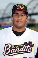 Quad Cities River Bandits pitcher Danny Miranda #37 poses for a photo before a game against the Cedar Rapids Kernels at Modern Woodmen Park on June 30, 2012 in Davenport, Illinois.  Quad Cities defeated Davenport 8-7.  (Mike Janes/Four Seam Images)