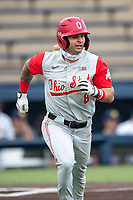 Ohio State Buckeyes second baseman Colton Bauer (8) runs to first base against the Michigan Wolverines on April 9, 2021 in NCAA baseball action at Ray Fisher Stadium in Ann Arbor, Michigan. Ohio State beat the Wolverines 7-4. (Andrew Woolley/Four Seam Images)